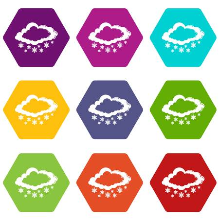 Cloud snowflake icons set 9 vector