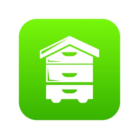 Wood beehive icon green vector Illustration