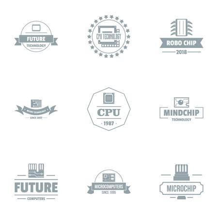 Future cpu logo set, simple style