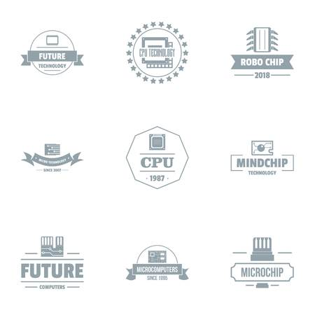 Future cpu logo set, simple style