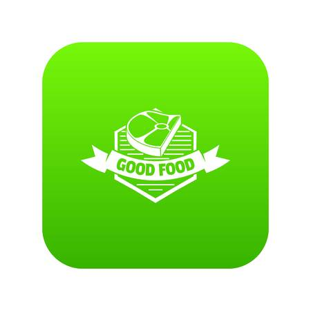 Meat good food icon green vector Illustration
