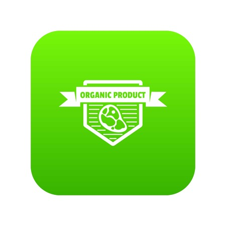 Meat organic product icon green vector