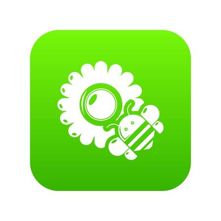 Bee flower icon green vector