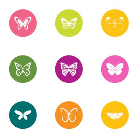 Night butterfly icons set, flat style