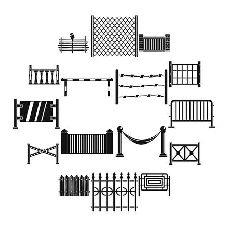 Fencing icons set, simple style Stock Illustratie