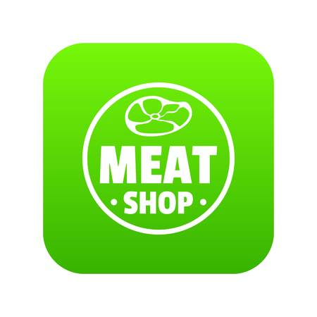 Modern meat shop icon green vector