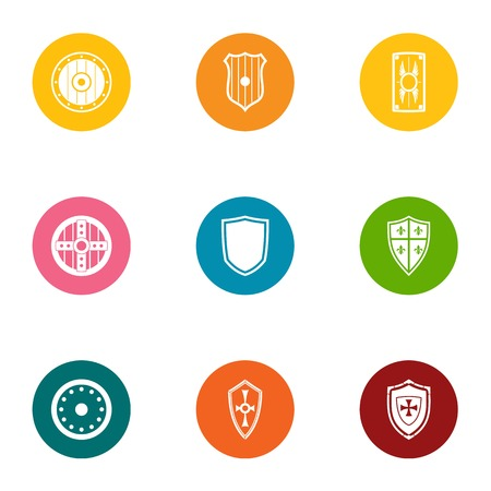 Protective shield icons set, flat style
