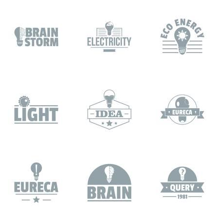 Ingenious idea logo set, simple style