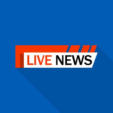 Live news logo, flat style