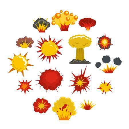 Explosion icons set in flat style isolated vector illustration