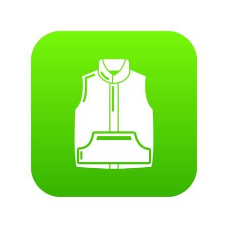 Sleeveless jacket icon green vector