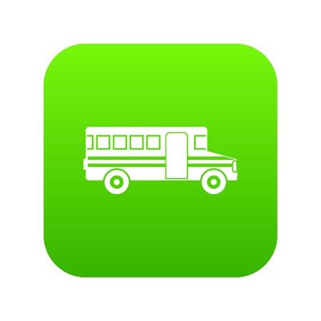 School bus icon digital green