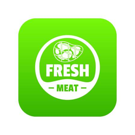 Eco fresh meat icon green vector Illustration
