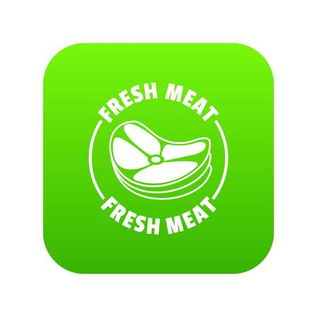 Fresh meat icon green vector