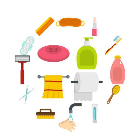 Iconos de herramientas de higiene en estilo plano