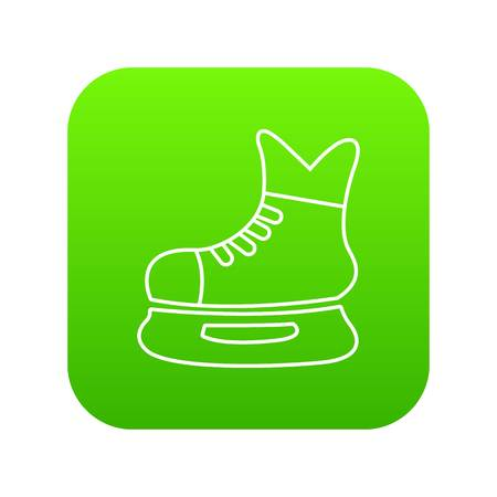 Ice hockey skate icon green vector