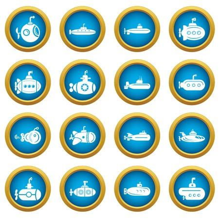 Submarine icons set, simple style Illustration