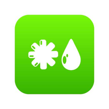 Winter icon green vector