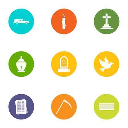 Fatality icons set, flat style Illustration