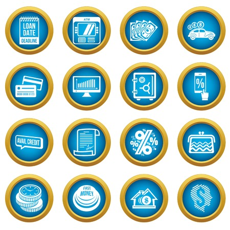 Loan credit icons set, simple style Illustration