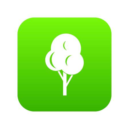Autumn tree icon digital green Vectores