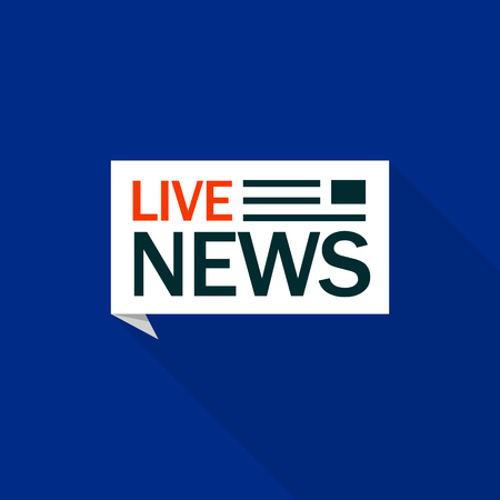 Speech bubble live news  , flat style