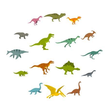 Dinosaur icons set in flat style Illustration