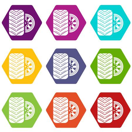 Tire icons set 9 vector Vectores