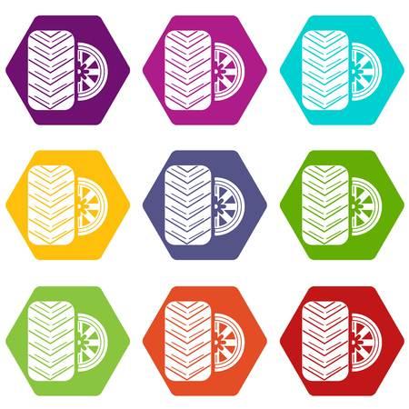 Tire icons set 9 vector Illustration