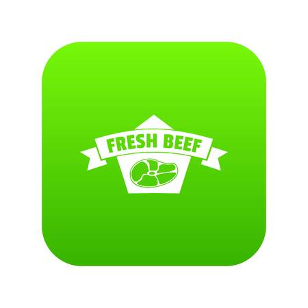Fresh eco beef icon green vector isolated on white background