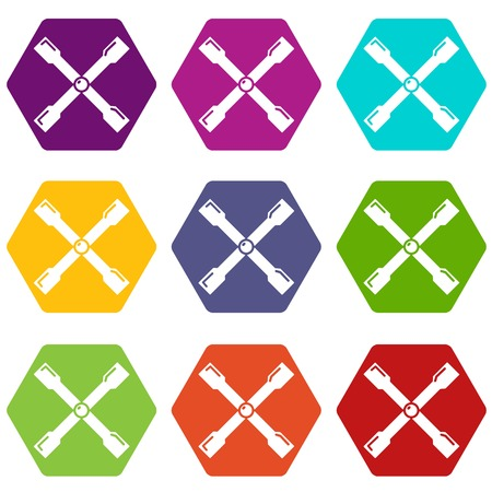 Spanner icons 9 set coloful isolated on white for web