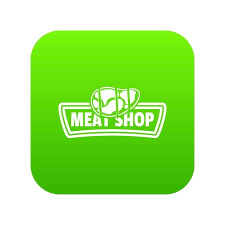 Meat shop icon green vector isolated on white background