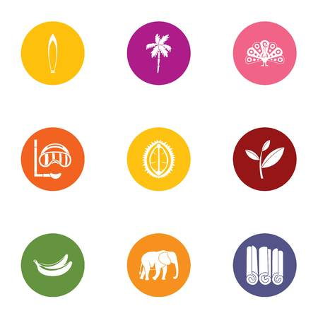 Wild tropic icons set. Flat set of 9 wild tropic vector icons for web isolated on white background Иллюстрация