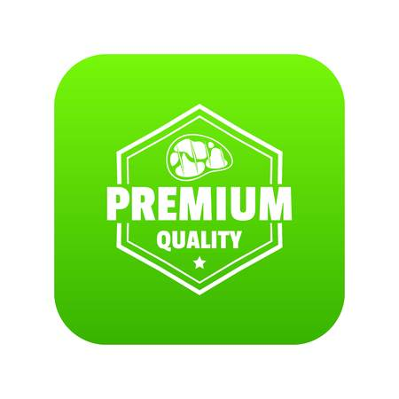 Premium meat quality icon green vector isolated on white background