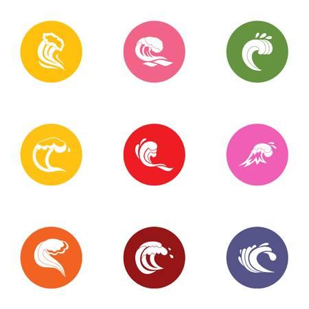 Splash icons set. Flat set of 9 splash vector icons for web isolated on white background Illustration