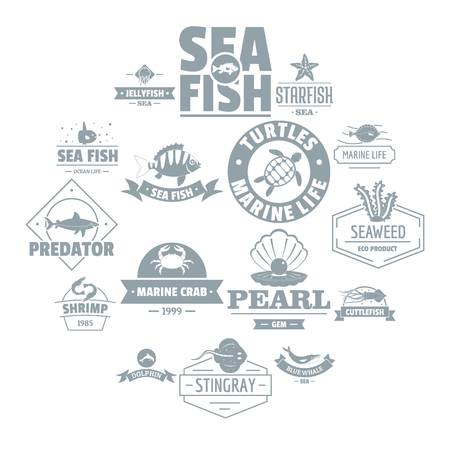 Fish sea  icons set. Simple illustration of 16 fish sea  vector icons for web