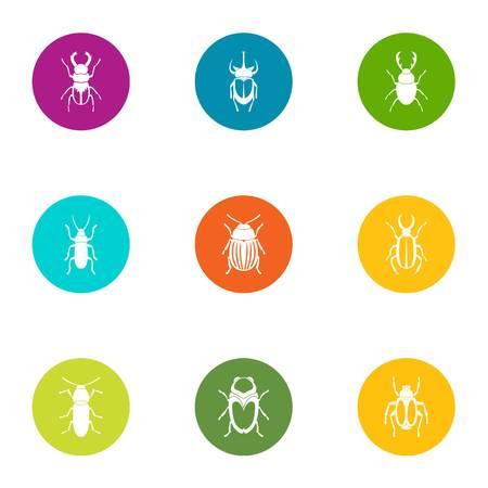 Glowworm icons set. Flat set of 9 glowworm vector icons for web isolated on white background Illustration