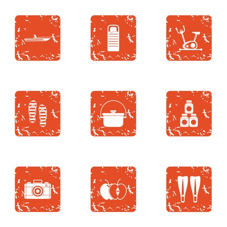 Tour preparation icons set. Grunge set of 9 tour preparation vector icons for web isolated on white background