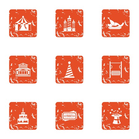 Major holiday icons set. Grunge set of 9 major holiday vector icons for web isolated on white background