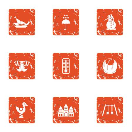 Resort icons set. Grunge set of 9 resort vector icons for web isolated on white background
