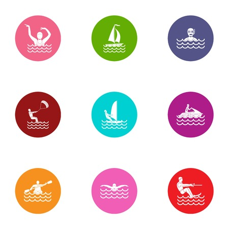 Aquatic fun icons set. Flat set of 9 aquatic fun vector icons for web isolated on white background