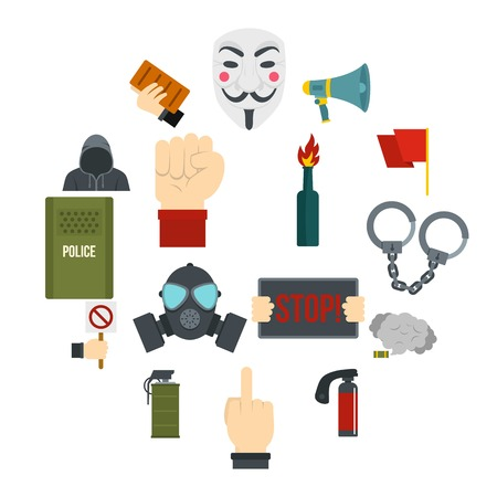Protest icons set in flat style isolated vector illustration
