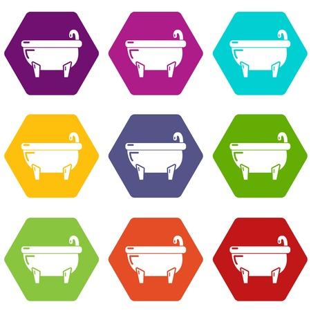 Bathtub icons 9 set coloful isolated on white for web