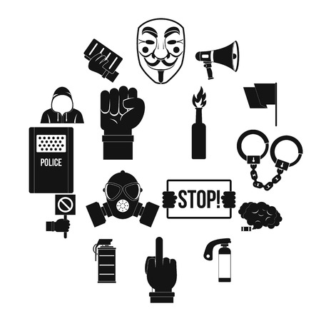 Protest icons set. Simple illustration of 16 protest vector icons for web