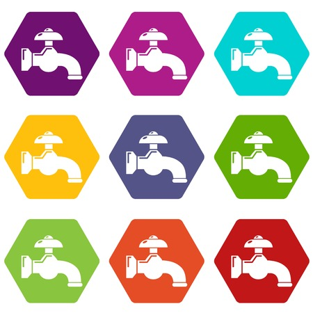 Water tap icons 9 set coloful isolated on white for web  イラスト・ベクター素材