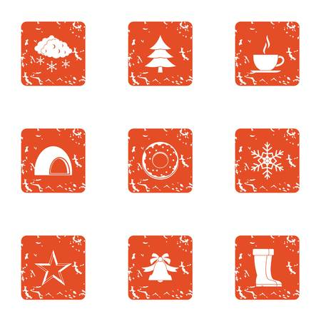 Forest holiday icons set. Grunge set of 9 forest holiday vector icons for web isolated on white background Vectores