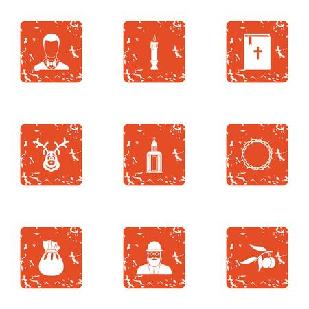 Funeral rite icons set. Grunge set of 9 funeral rite vector icons for web isolated on white background