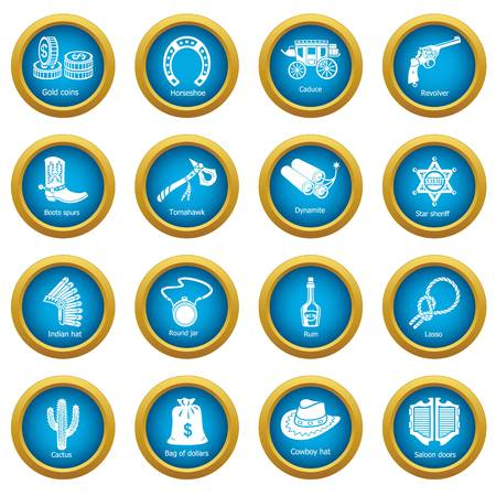 Wild west icons set. Simple illustration of 16 wild west vector icons for web Vectores