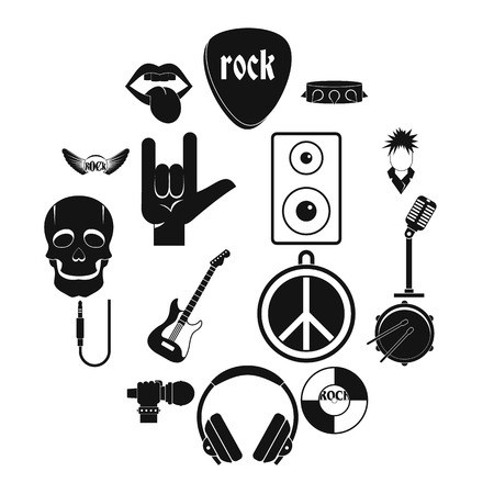 Rock music icons set. Simple illustration of 16 rock music vector icons for web
