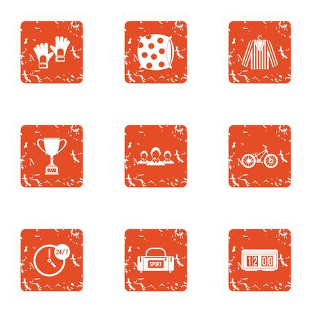 Sport dream icons set. Grunge set of 9 sport dream vector icons for web isolated on white background